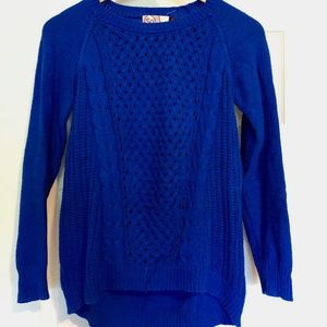 Textured / Crocheted Blue Sweater